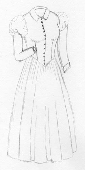 1880's Day Dress with Puffed Upper Sleeve
