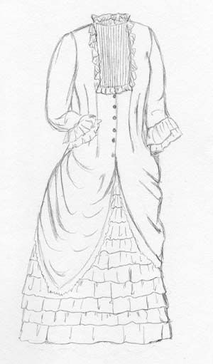 1880's Polonaise Over-Dress (does not include Ruffled Underskirt)