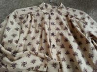 Band Collar Shirt with Brown Floral Print on Tan