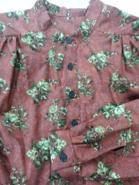 Band Collar Shirt with Brown and Gray Tone Floral on Brick Cotton