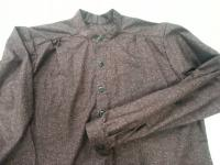 Band Collar Shirt in Deep Plum Marble Cotton
