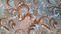 0129A Aqua Tan Paisley Cotton Wild Rag 42 by 42