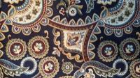 0042A Cotton Wild Rag in Blue,Olive,Gold,Burgundy,Creme Print on Navy Blue Background 42 by 42