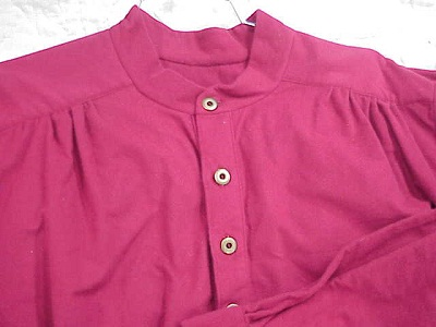 Band Collar Shirt in Barn Red Chamois Flannel