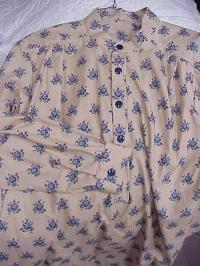 Band Collar Shirt in Blue Floral on Tan Print Cotton