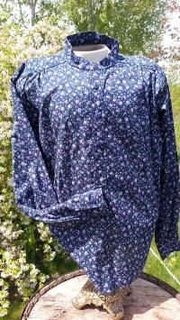 Band Collar Shirt in Purple Floral on Navy Cotton- Size M