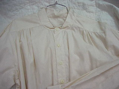 Band Collar Shirt in Tan and White Stripe Cotton