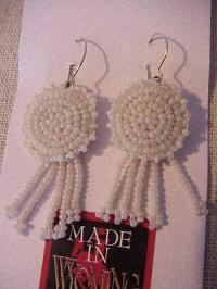 Beaded Rosette Earrings-Natural