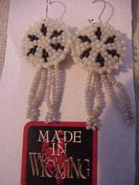 Beaded Rosette Earrings- Natural and Black
