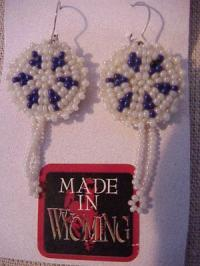 Beaded Rosette Earrings- Natural and  Navy