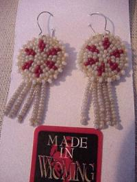 Beaded Rosette Earrings- Natural and Red