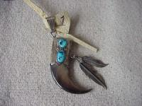 Bear Claw Set in Silver with Turquoise and Silver Feathers