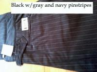 Classic Old West Styles Pants- Black with Navy and Gray Pinstripes