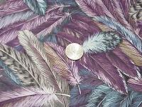 CR0015 Feather Print Cotton Wild Rag in Lavenders,Blues,Taupe and Tan