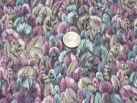 CR0016 Small Feather Print Cotton Wild Rag in Lavenders,Blues,Taupe and Tan Cotton