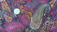 Multi Color Paisley in Gold, Red, Purples and Brown Faux Silk