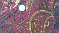 Brown and Gold Paisley Print on Deep Cranberry Faux Silk Wild Rag