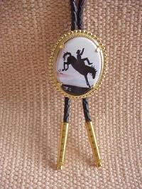 Porcelain Bolo with Bucking Horse and Rider Silhouette Artwork