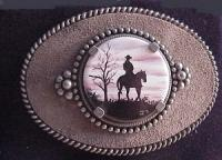 Porcelain Buckle with Cowboy Silhouette