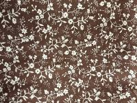 0239A Ivory Sm Floral Print on Chocolate Brown Cotton Wild Rag 31 by 31