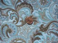 0229A Tan and Blue Paisley Cotton Smaller Wild Rag 21 by 21