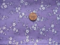 0221A  Black and White Flowers on Purple Print Cotton Smaller Wild Rag 19.5 by 19.5
