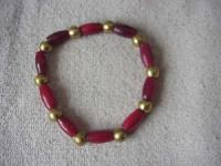Red Horn Pipe with Brass Trade Bead Bracelet