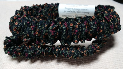 075 Muted Gold,Green,Burgundy Mini Floral on Black Pair of Cotton Sleeve Garters