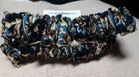 082 Navy,Federal Blue,Brown,Straw Yellow and Off White Print Pair of Cotton Sleeve Garters