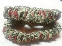 011 Green and Coral Print Cotton Pair of Sleeve Garters