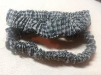 006 Black and Olive/Gray Check Cotton Pair of Sleeve Garters