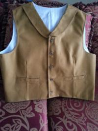 Heavy Cotton Canvas Vest- Prescott Style- Dark Mustard Cotton