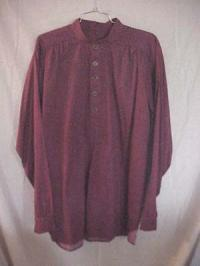 Band Collar Shirt- Burgundy with Cream Pattern