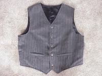 Tombstone Vest- Black Wool Flannel with Tiny Tan,Burgundy,Olive Stripe Design Front and Satin Back- Large
